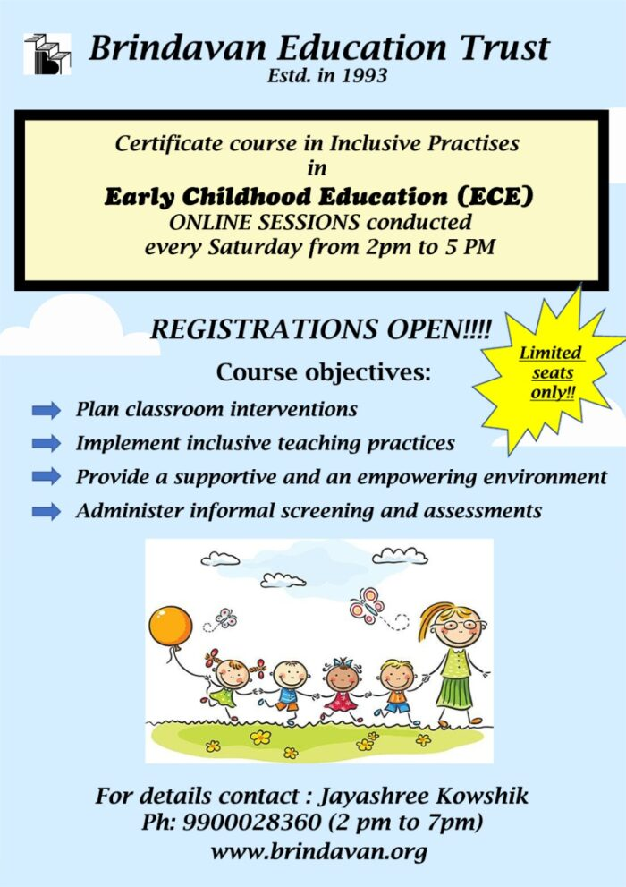 Certificate Course in Inclusive Practises in Early Childhood Education (ECE)